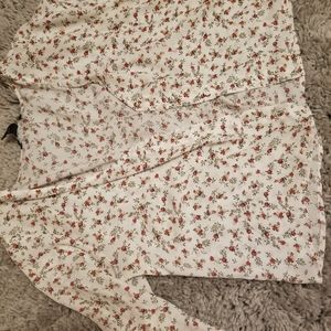 Flower Button Down Forever21 Blouse. Crop top-ish